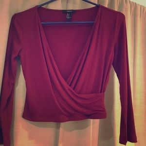 Forever 21 Wine red 3/4 sleeve crop top